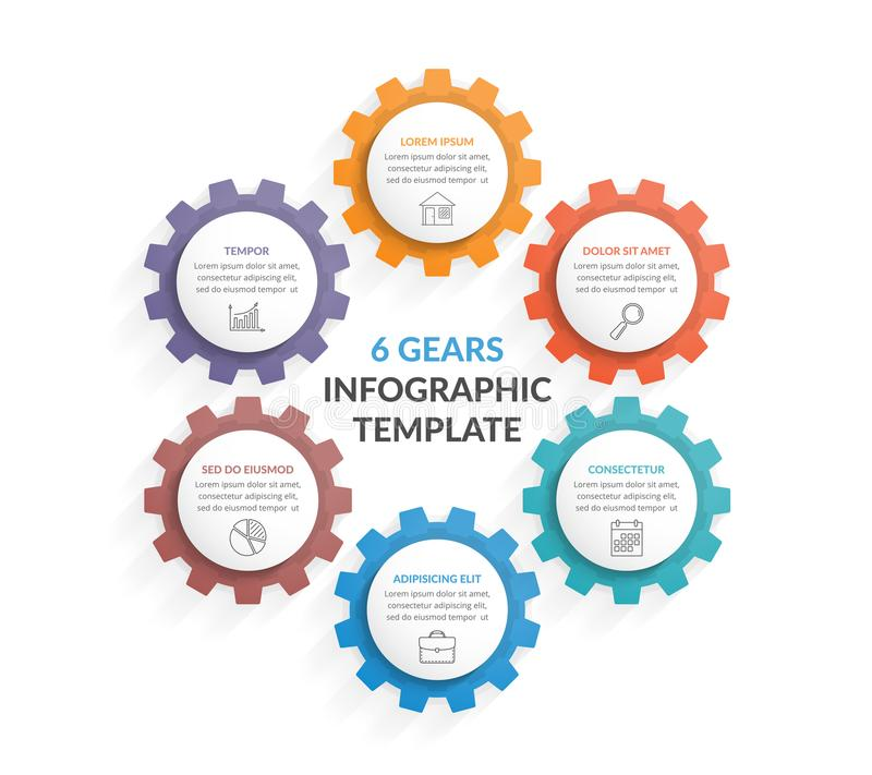 Six Gears. Circle diagram with six gears on white background vector illustration