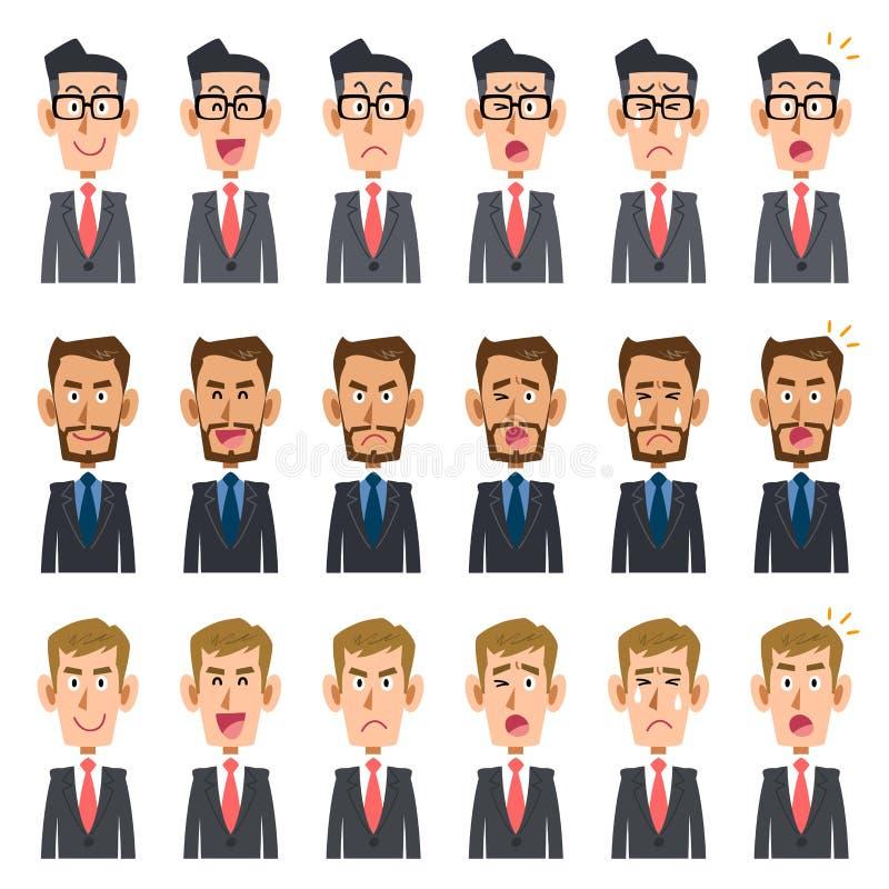 Six genres d'expression du _2 de trois hommes d'affaires illustration de vecteur