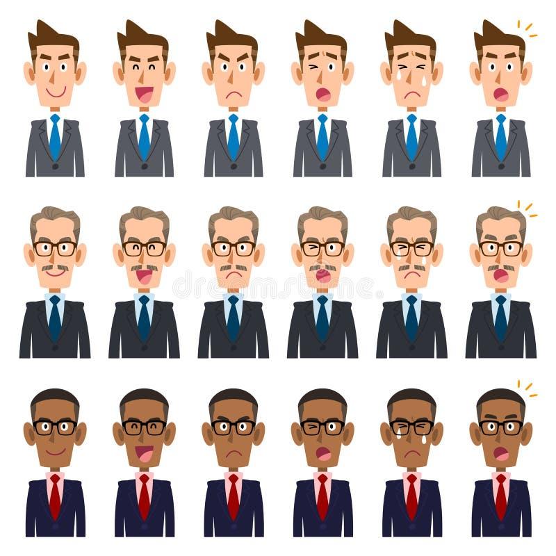 Six genres d'expression du visage du _1 de trois hommes d'affaires illustration stock