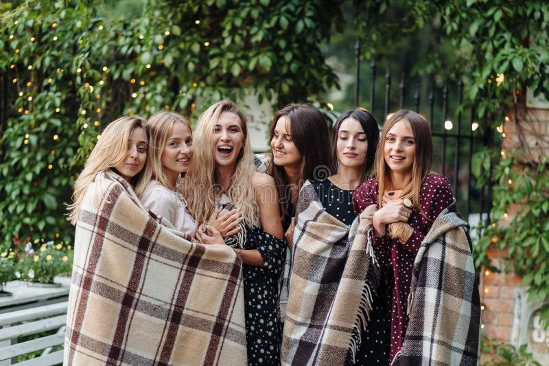 Six girls in the park royalty free stock image