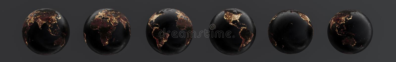Six globes showing earth with 60 degree rotation at night. 3D illustration vector illustration