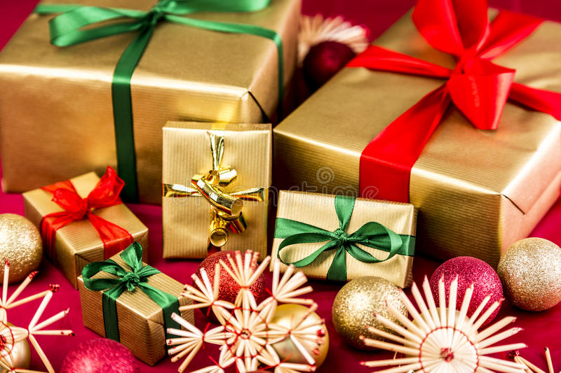 download six golden xmas presents with bows stock image image of defocused christmassy - Xmas Presents