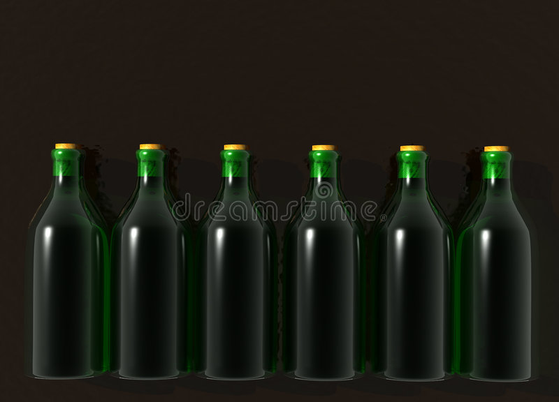 Six Green Glass Wine Bottles. On Black vector illustration