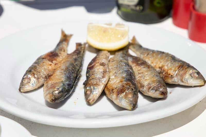 Six Grilled sardines with lemon stock images