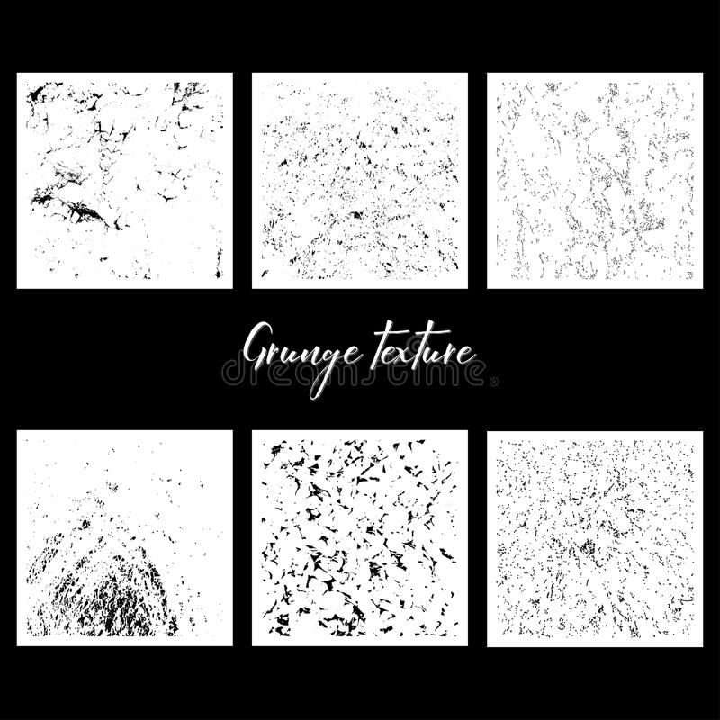 Six grunge textures. In black color on white background royalty free illustration