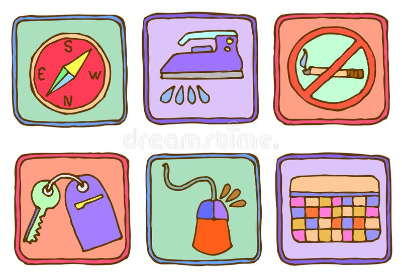 Six hahd drawn icons stock illustration