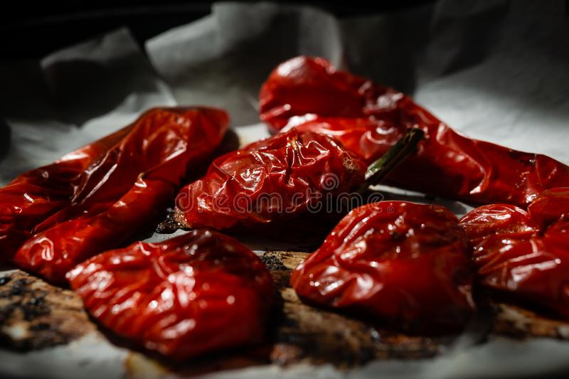 Grilled red pepper wrinkled skin royalty free stock images