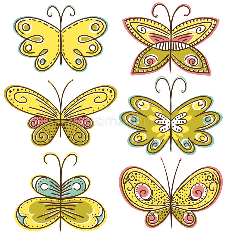 Six hand draw butterflies, vector