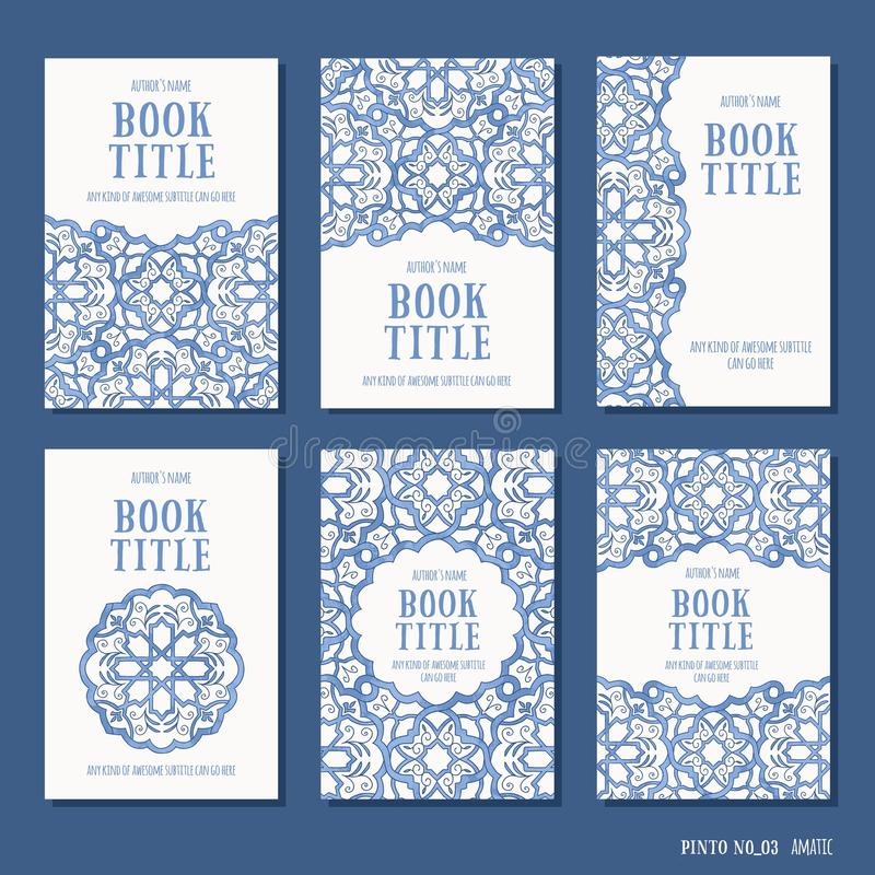 Six hand drawn book covers vector illustration