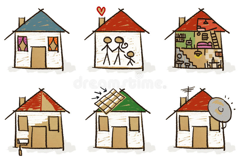 Six Hand Drawn Houses Stock Image