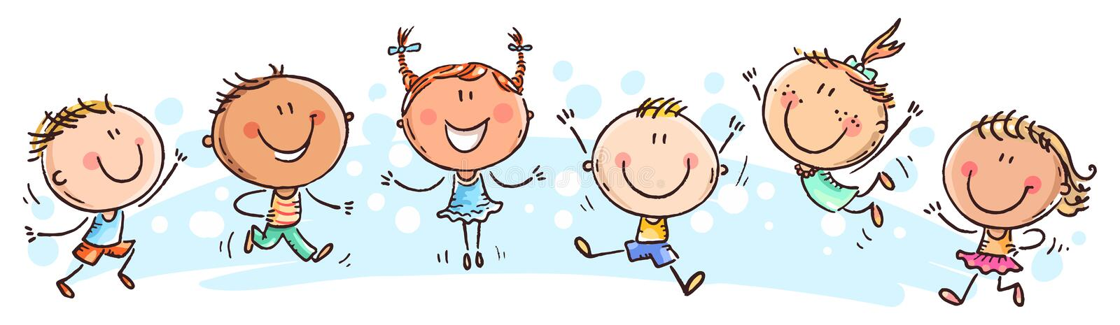 Six happy doodle kids in a row. Cartoon vector drawing stock illustration