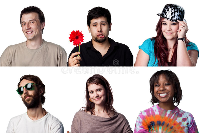 Six happy faces. Group of six happy actors, all full size images royalty free stock images