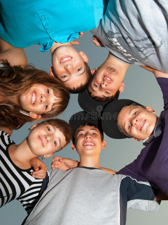 Download Six Happy Teenagers Standing In The Circle Stock Photo - Image: 26470618