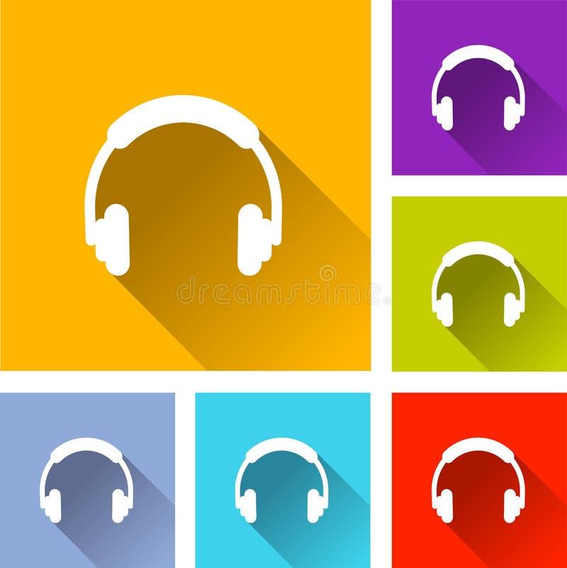 Six headphones icons. Illustration of six headphones icons stock illustration