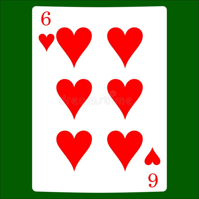 Six Hearts. Card Suit Icon Vector, Playing Cards Symbols ...