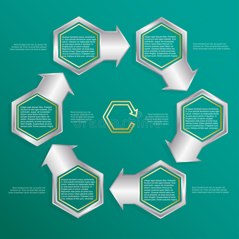 Six hexagonal frames for text or infographics. Description of the process. stock illustration