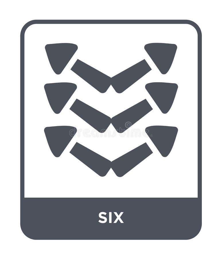 six icônes dans le style à la mode de conception six icônes d'isolement sur le fond blanc symbole plat simple et moderne de six i illustration stock