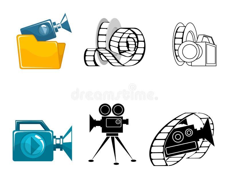 Six icônes pour les clips vidéo illustration libre de droits