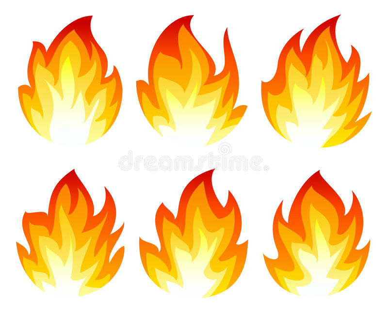 Six icônes du feu illustration stock