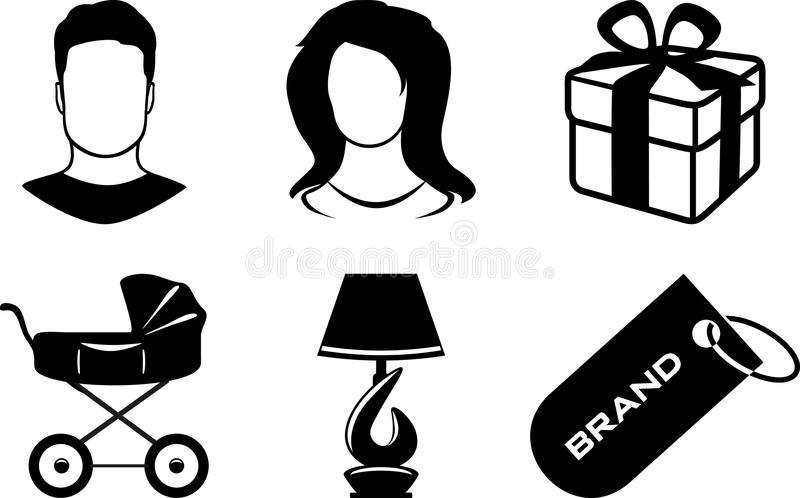 Six icons for web shop stock photos