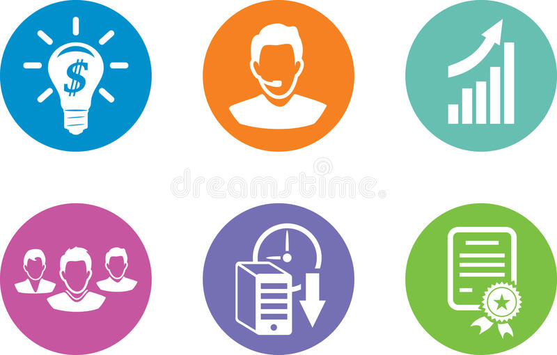 Six icons for website content royalty free stock image
