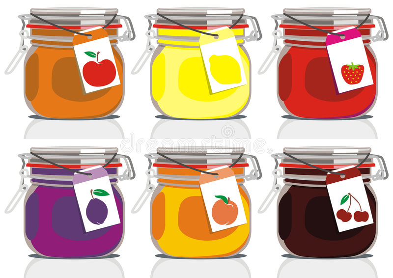Six jam jars royalty free illustration