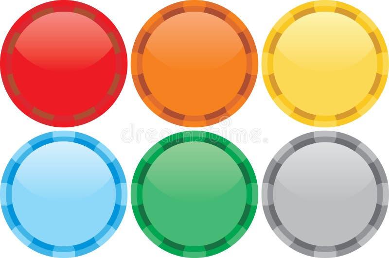 Six jetons de couleurs illustration stock