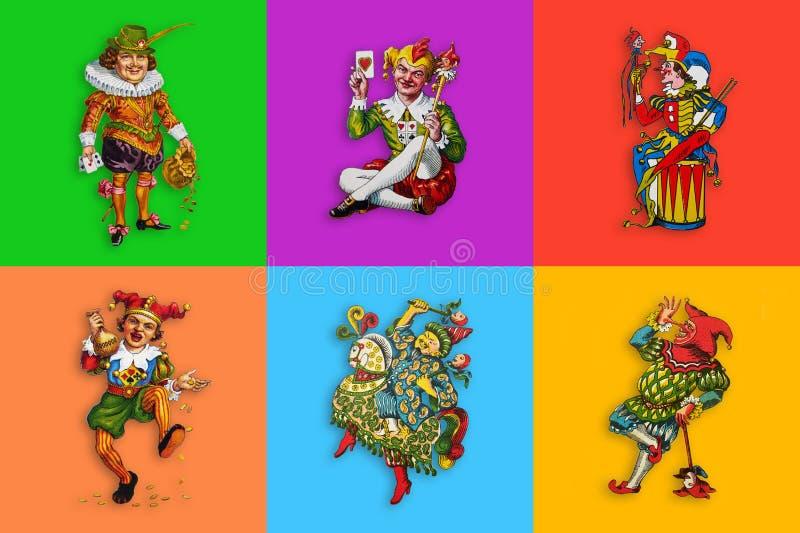 Six jokers de carte dans les places colorées illustration stock