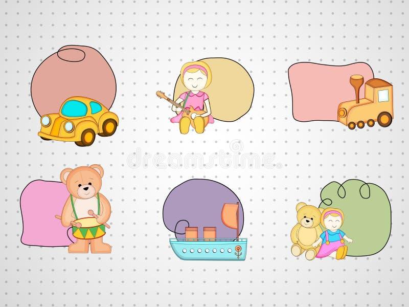 Six jouets colorés avec le cadre kiddish de style d'attache illustration libre de droits