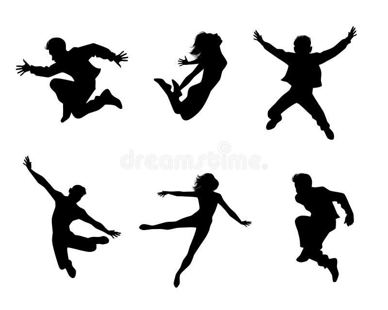Six jumping teenagers stock illustration
