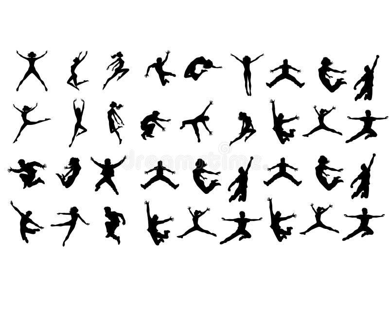 Six jumping teenagers vector illustration