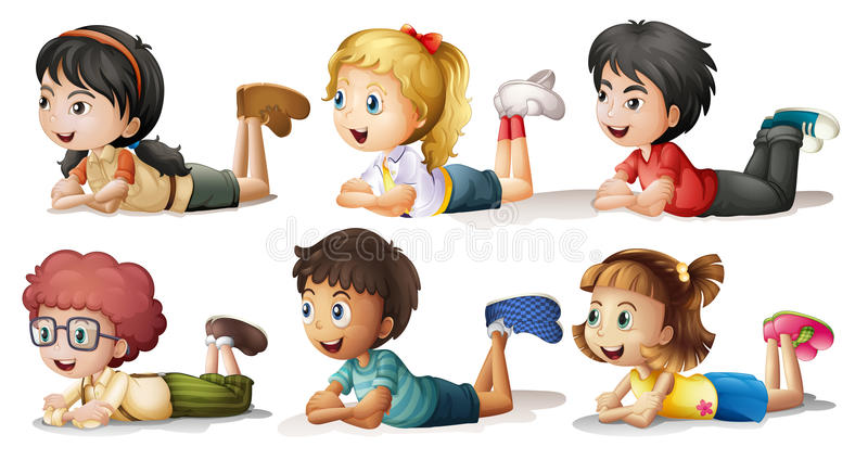Six kids vector illustration