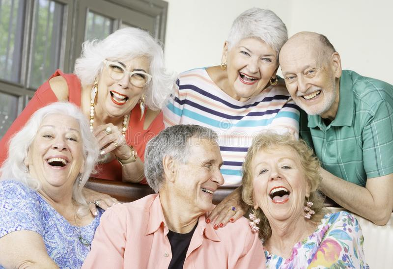 Six Laughing Senior Friends in a living room royalty free stock images