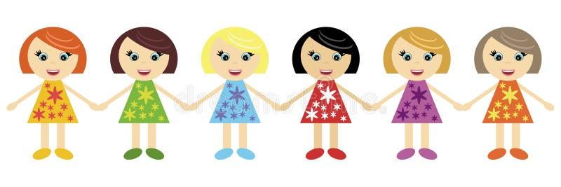 Download Six Little Girls Holding Hands Together Stock Vector - Illustration of dress, smile: 15858787