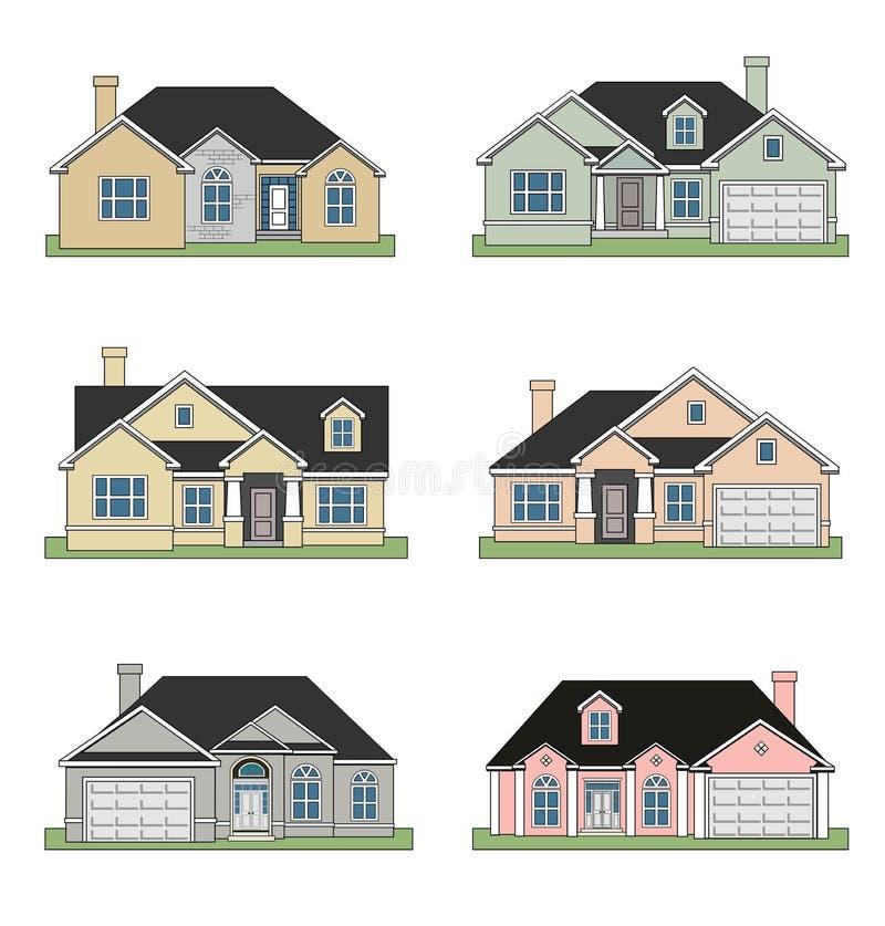 Six maisons de ranch illustration de vecteur
