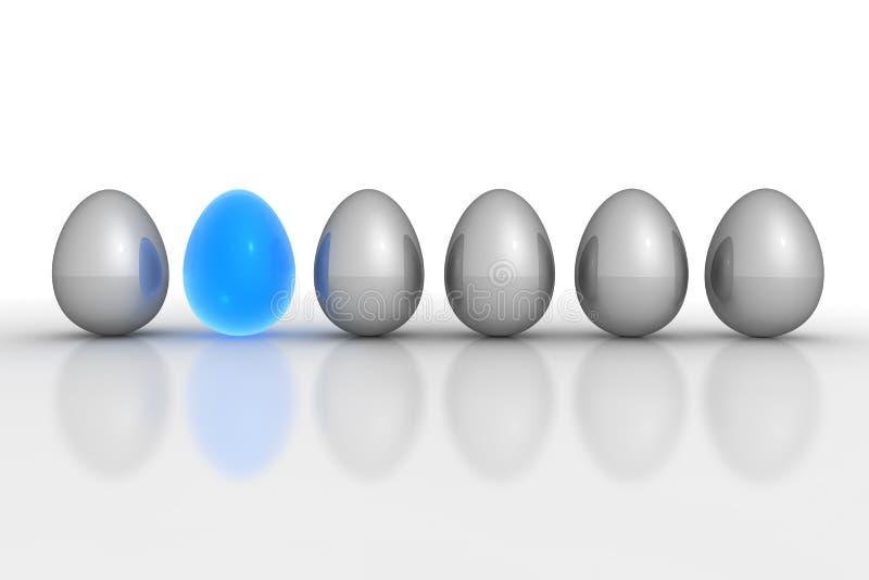 Download Six Metallic Eggs - Grey Blue Translucent Stock Illustration - Illustration: 12926186
