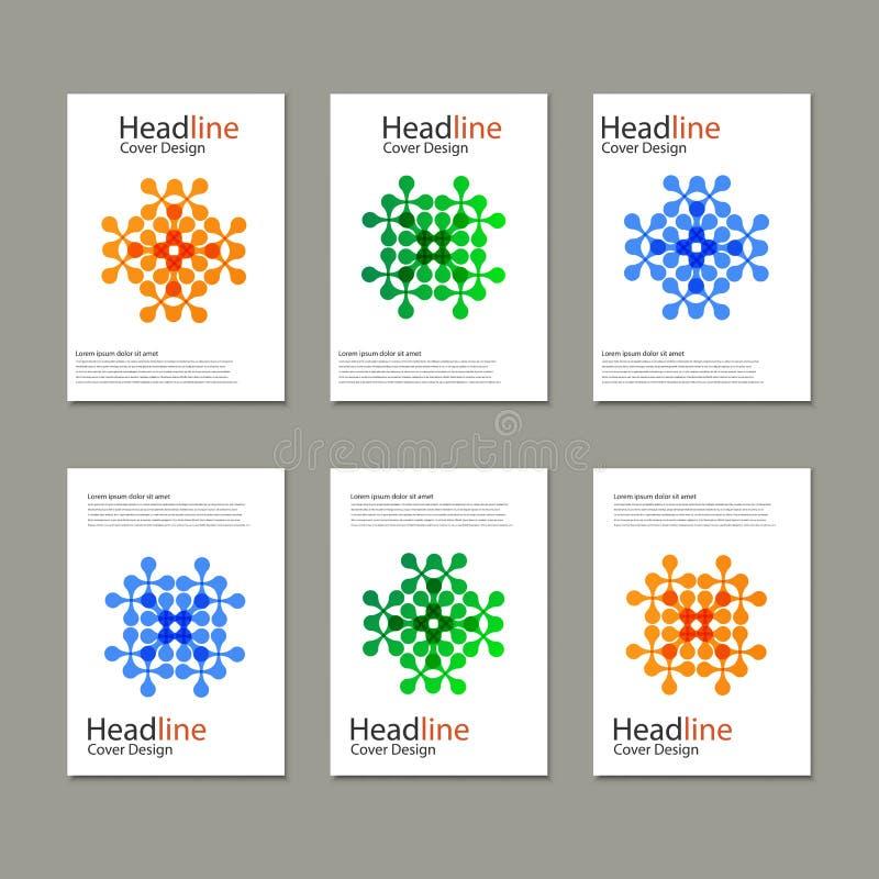 Six modèles de vecteur avec le résumé figurent des brochures illustration stock