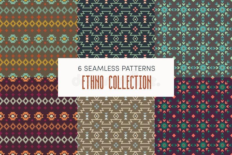 Six modèles sans couture ethniques illustration stock