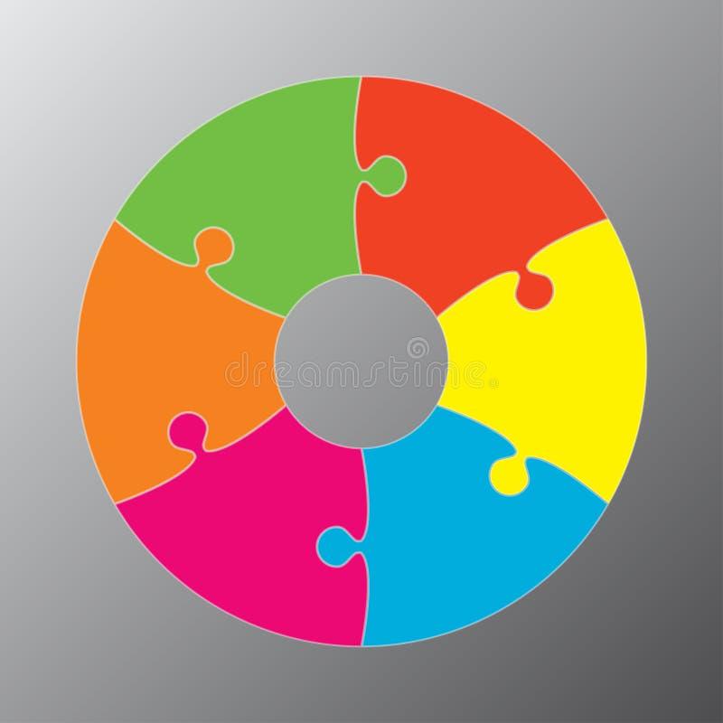 Six morceaux de puzzle denteux de cercles de graphique de diagramme illustration libre de droits