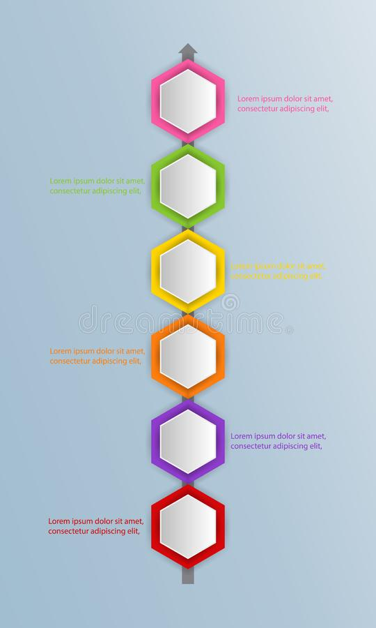 Six multicolored hexagons connected with text boxes and pictograms, infographic design template. Effective daily scheduling, task royalty free illustration