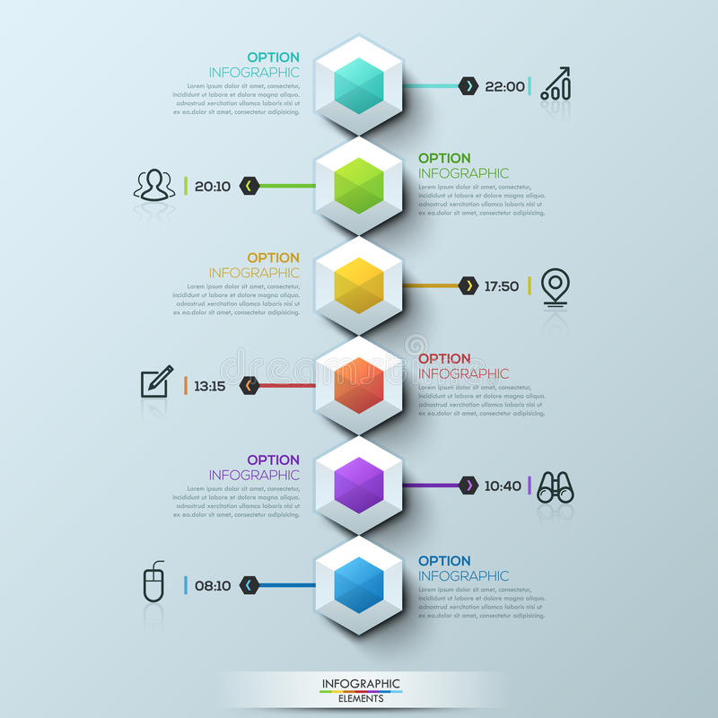 Six multicolored hexagons connected with text boxes and pictograms, infographic design template vector illustration
