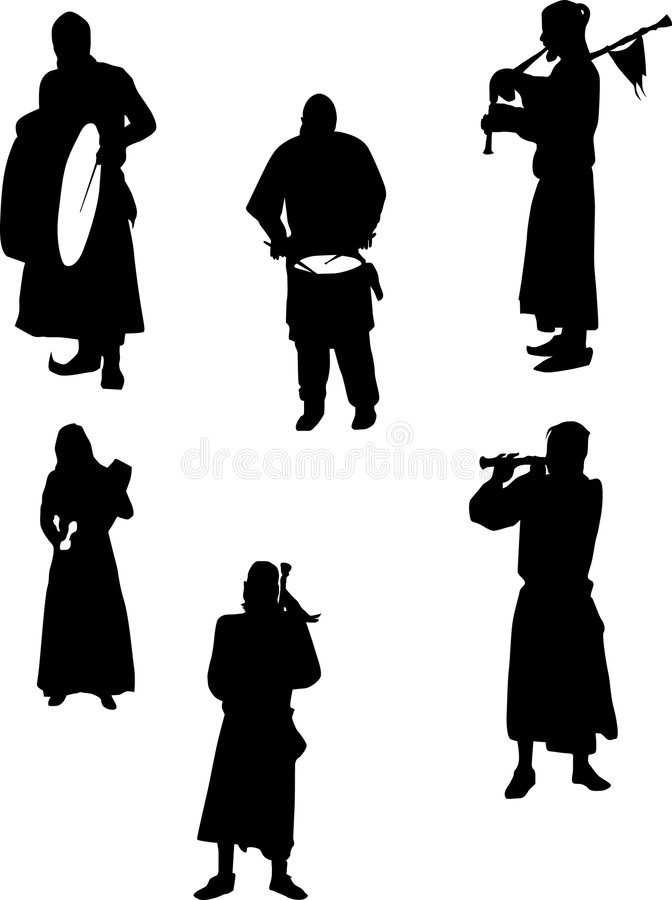 Download Six musicians on white stock illustration. Image of shape - 8003008