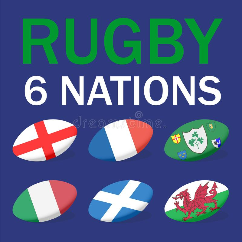 Six nations Rugby card with balls and flags of France, Scotland, Italy, England, Ireland, Wales. stock illustration