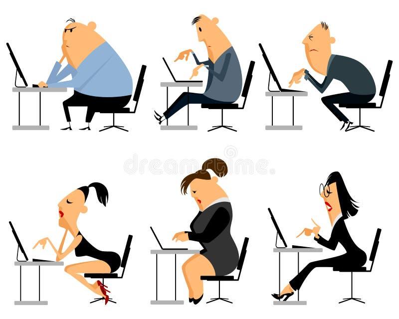 Six office worker set vector illustration
