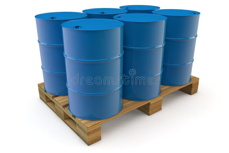 Six oil barrels on pallet stock illustration