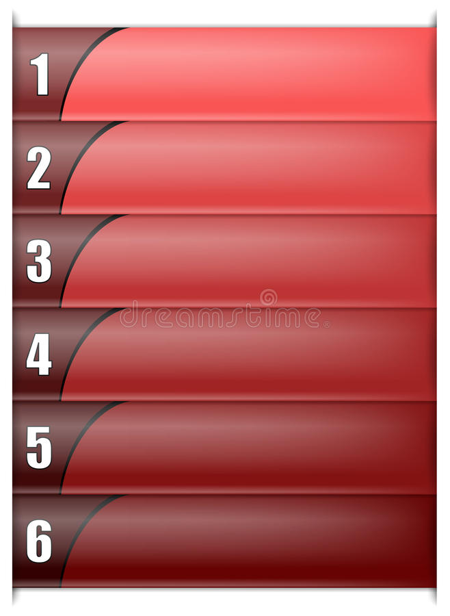 Six Options Vertical Red Template. Six Options Vertical Template In Shades of Red Color With Big White Numbers. Included EPS10 format royalty free illustration