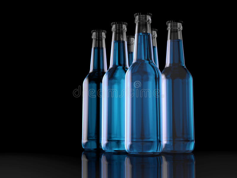 Six Pack - Bottles - Party Pack - 3D - Beer stock illustration