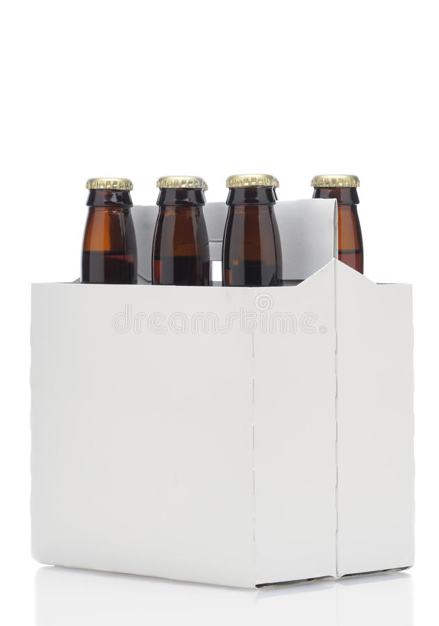 Six Pack Of Brown Beer Bottles Stock Photo Image Of Beverage