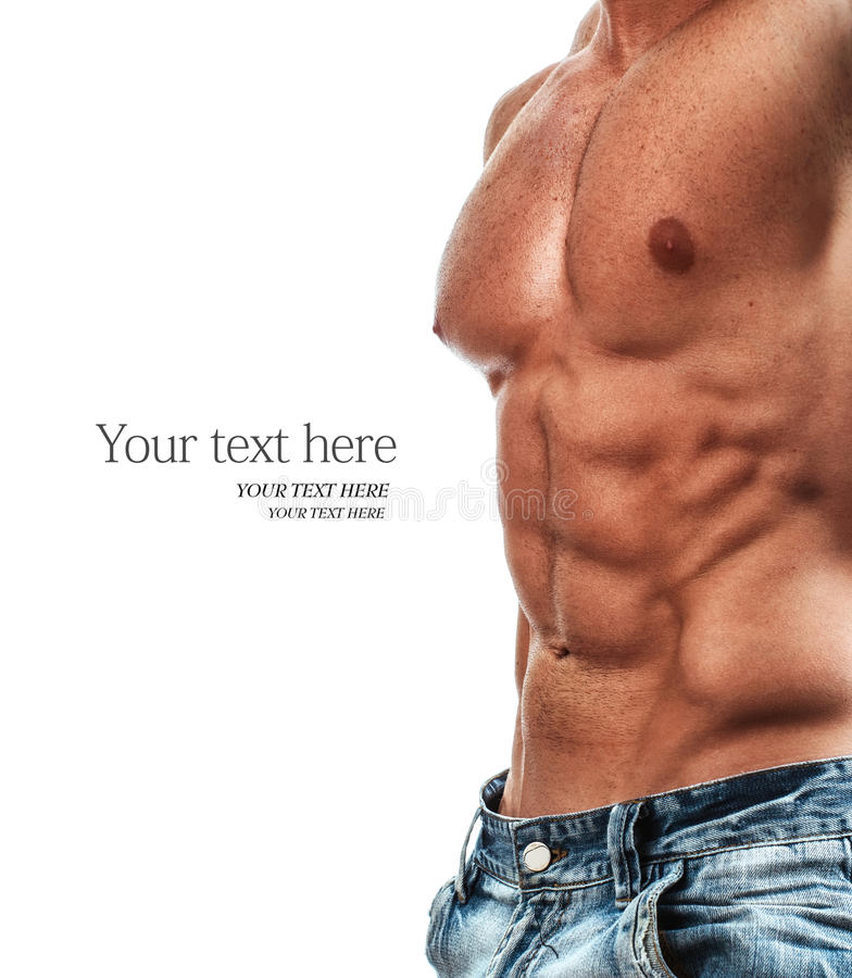 Six pack. Muscular and torso of young man, bodybulider isolatedon white stock photography