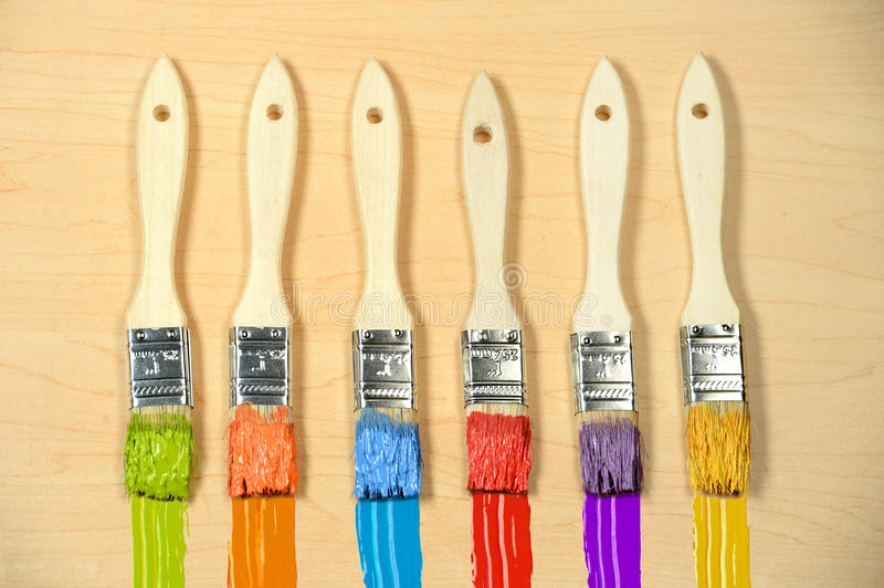Six Paintbrushes with Different Colors stock image